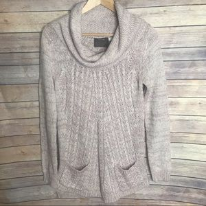Guinevere Blush Pink Cable Knit Cowl Neck Sweater